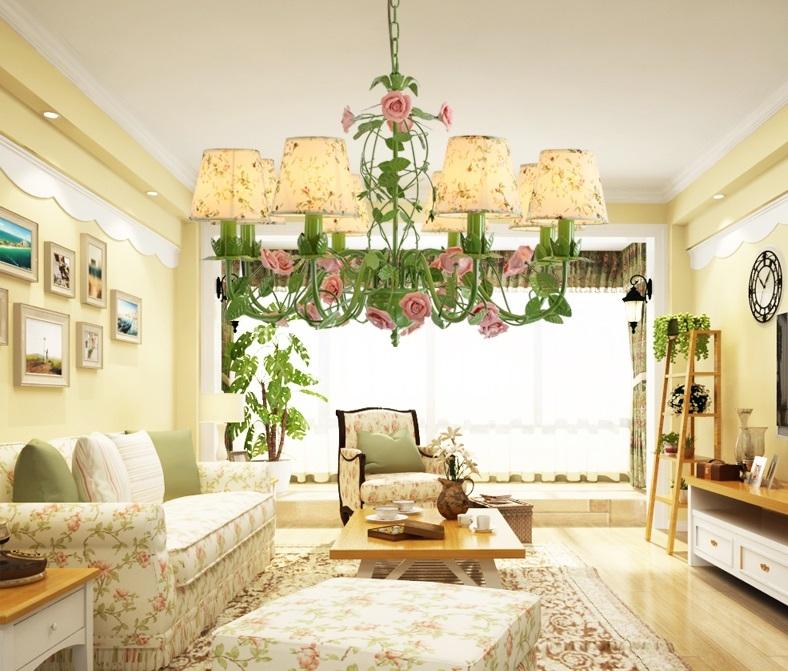Đèn chùm trang trí hoa hồng lãng mạn DTT063 6 bóng hoa hồng
