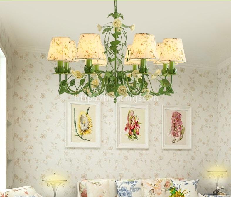 Đèn chùm trang trí hoa hồng lãng mạn DTT063 6 bóng hoa vàng