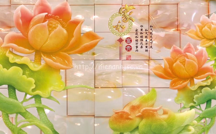 Tranh giả ngọc hoa sen in 3D trang trí phòng thờ