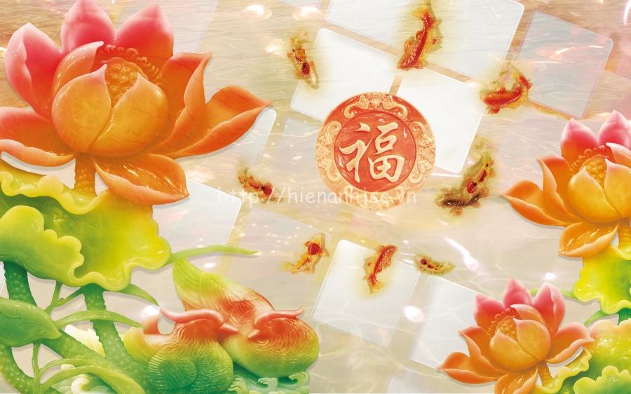 Tranh hoa sen cùng quần ngư cho phòng thờ đẹp