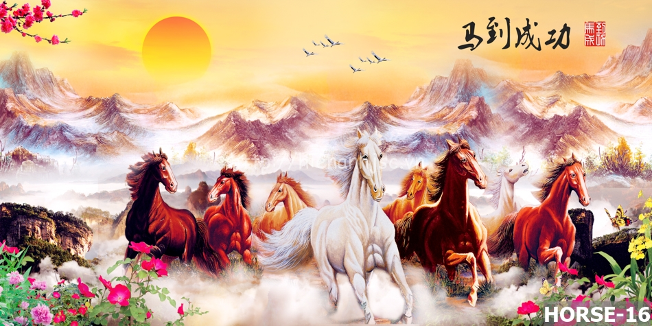 Tranh mã đáo có 8 con ngựa