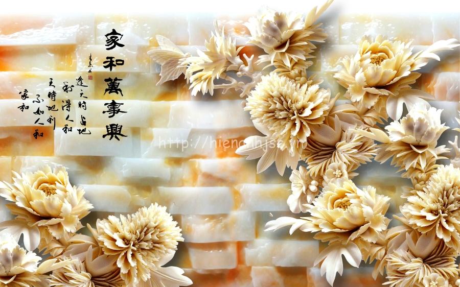 Tranh giả ngọc hoa mẫu đơn phòng thờ