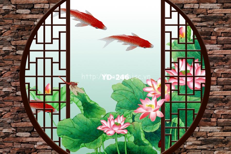 Tranh hoa sen cá chép dán phòng thờ