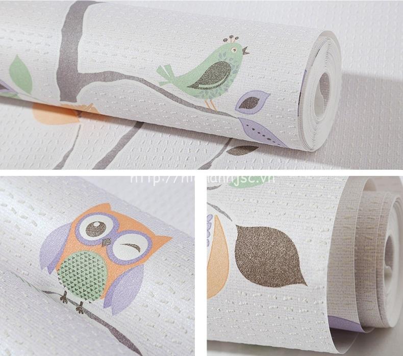 Giấy dán tường 3D - Họa tiết dây leo và cú birdie 3D221 - Mẫu 5