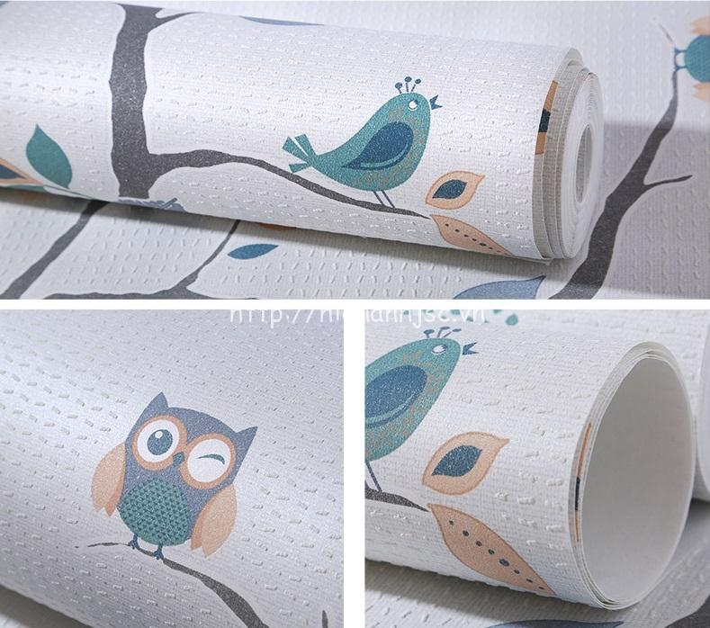 Giấy dán tường 3D - Họa tiết dây leo và cú birdie 3D221 - Mẫu 4