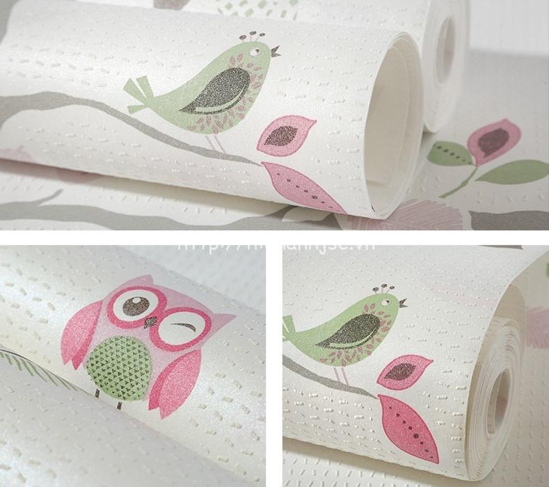 Giấy dán tường 3D - Họa tiết dây leo và cú birdie 3D221 - Mẫu 1