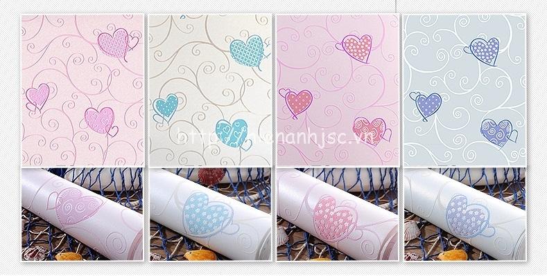 4 màu sắc trẻ trung cá tính của giấy dán tường trái tim