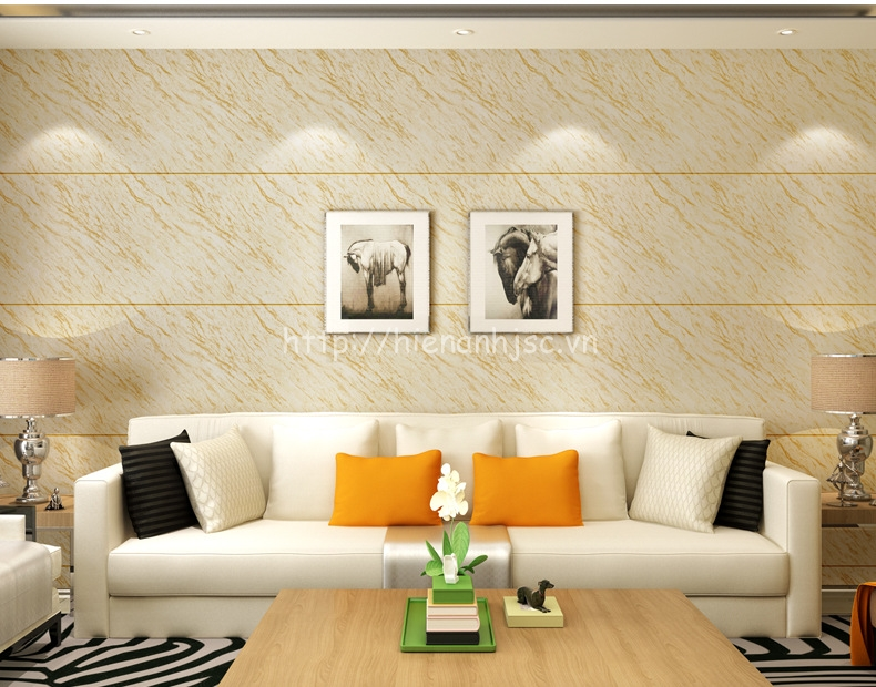 Giấy dán tường 3D - Họa tiết giả đá hiện đại 3D223 màu vàng