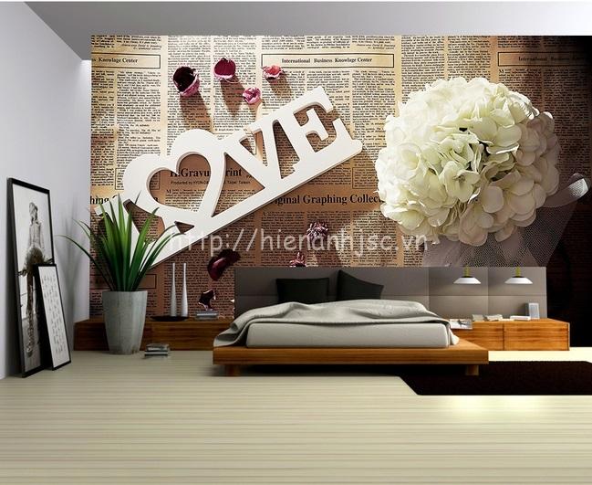 Tranh dán tường 5D - Tranh hoa lãng mạn nên báo cũ hoài cổ 5D125