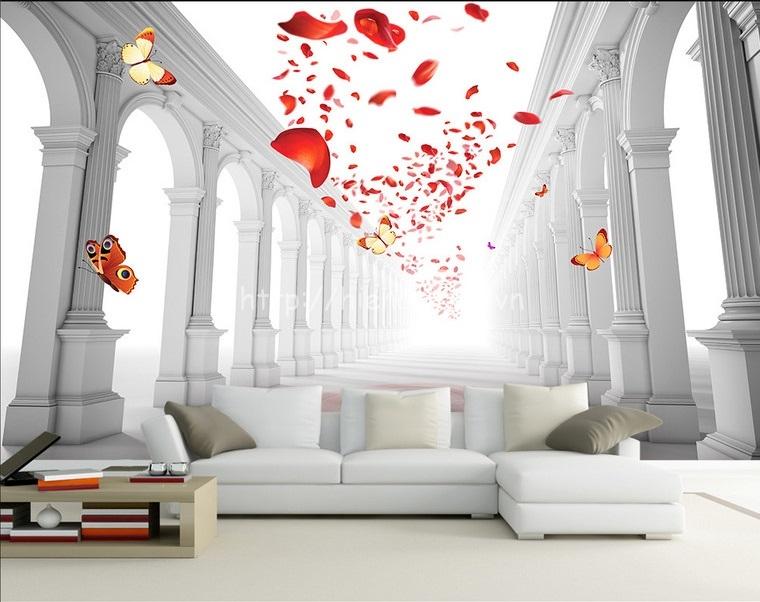 Tranh dán tường 5D - Tranh sảnh cưới lãng mạn 5D126