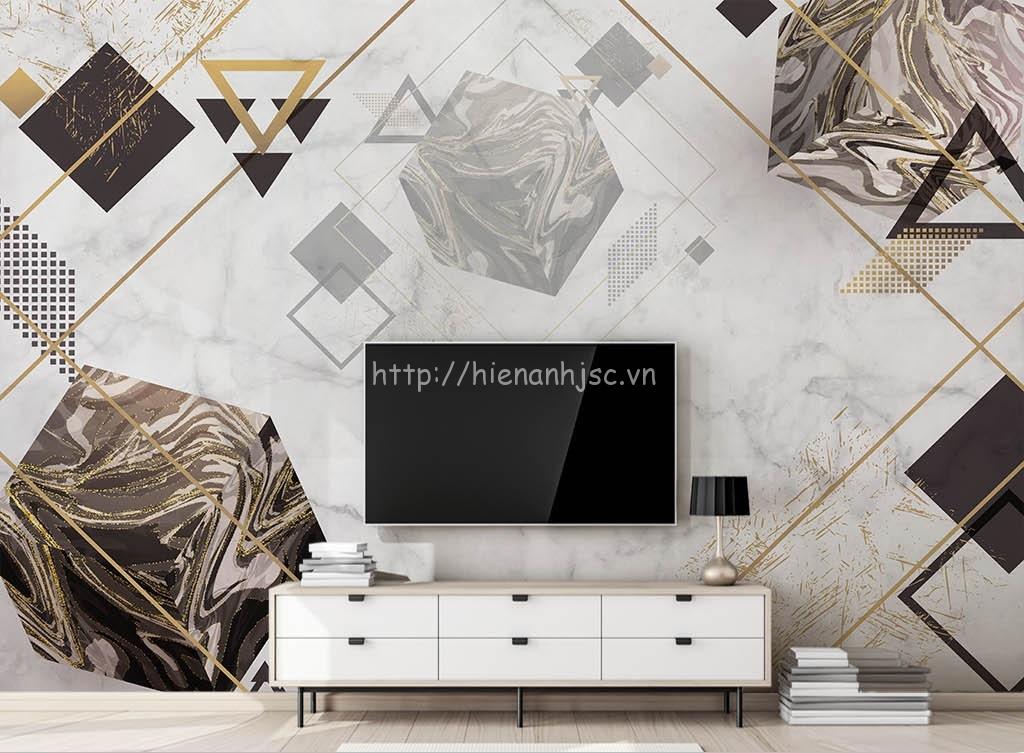 Tranh dán tường 5D - Hình hộp hiện đại nền đá marble 5D176