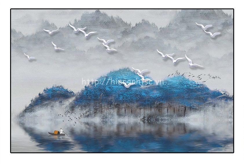 Tranh dán tường 5D - Tranh dán tường thủy mặc rừng xanh 5D180