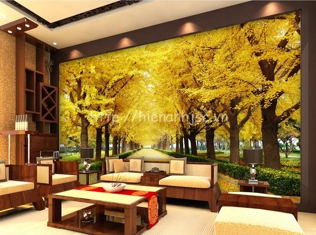 Tranh dán tường 5D - Tranh con đường lá vàng 5D181