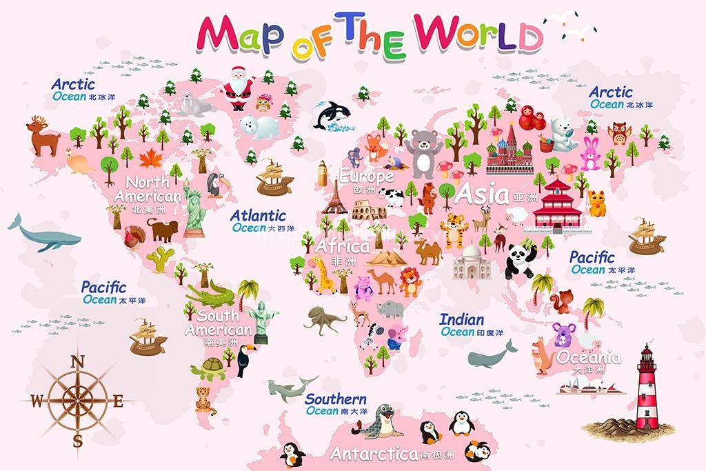 Tranh dán tường 5D - Tranh bản đồ thế giới cho bé 5D183 Hồng