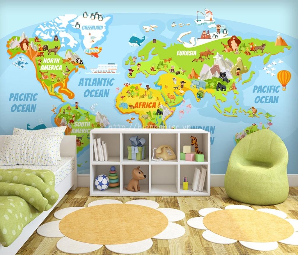 Tranh dán tường 5D - Tranh bản đồ thế giới cho bé 5D184
