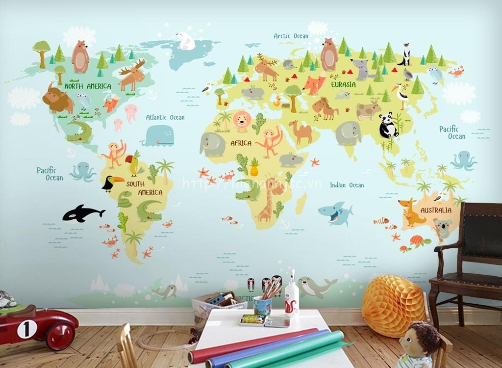 Tranh dán tường 5D - Tranh bản đồ thế giới cho bé 5D185