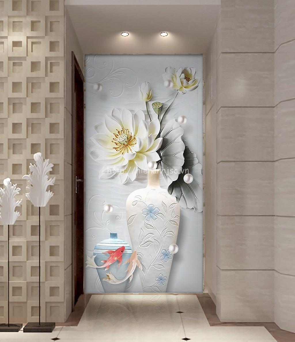 Tranh dán tường 5D - Tranh hành lang bình hoa sen, cá chép 5D189