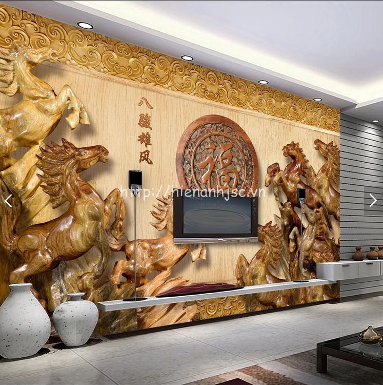 Tranh dán tường 5D - Tranh dán tường ngựa phong cách giả gỗ 5D192