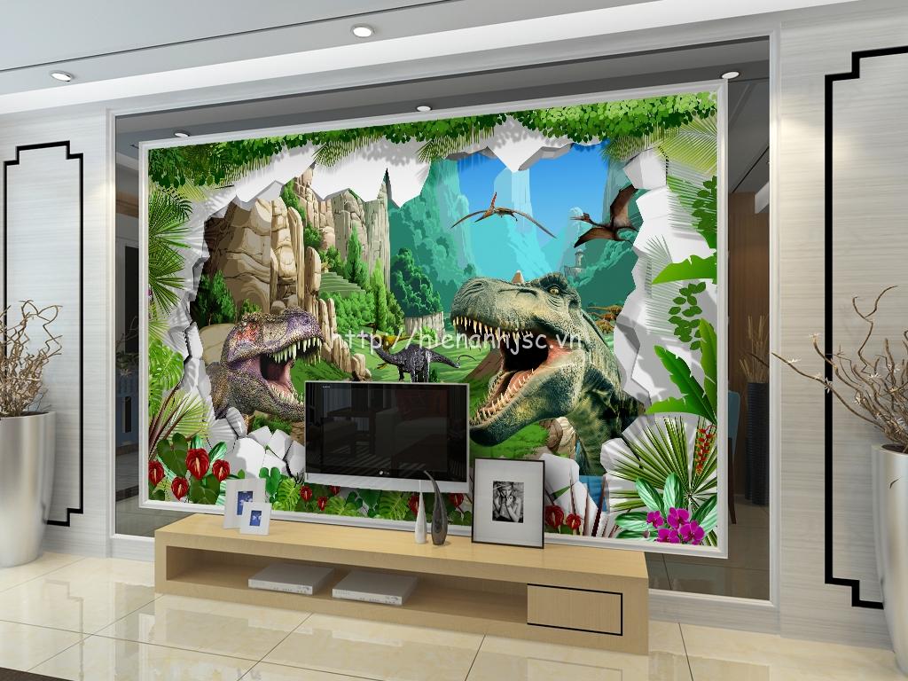Tranh khủng long 3D được gia chủ sử dụng dán sau kệ tivi