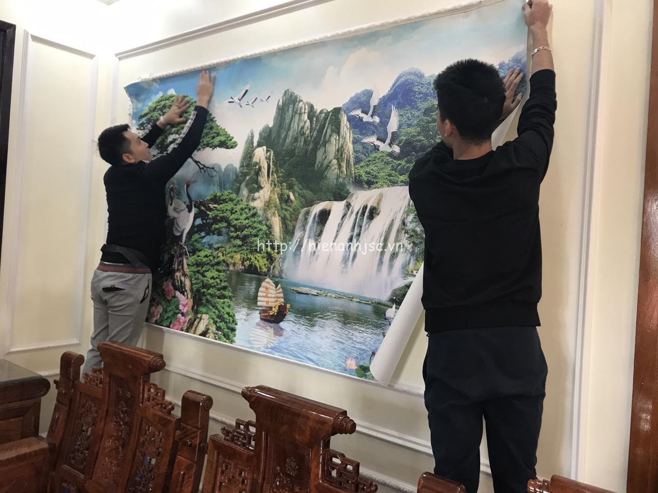 Mẫu tranh 5D phong cảnh dán phòng khách nhà chú Thành Lạng Sơn
