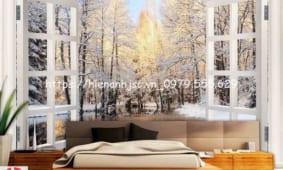✅ Mẫu tranh dán tường cửa sổ 3D 5D đẹp nhất Hà Nội