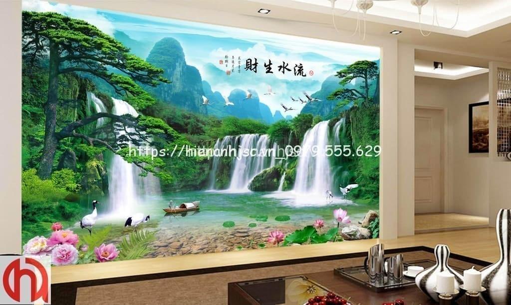 Tranh dán tường thác nước phong cách Trung Hoa - 5D007