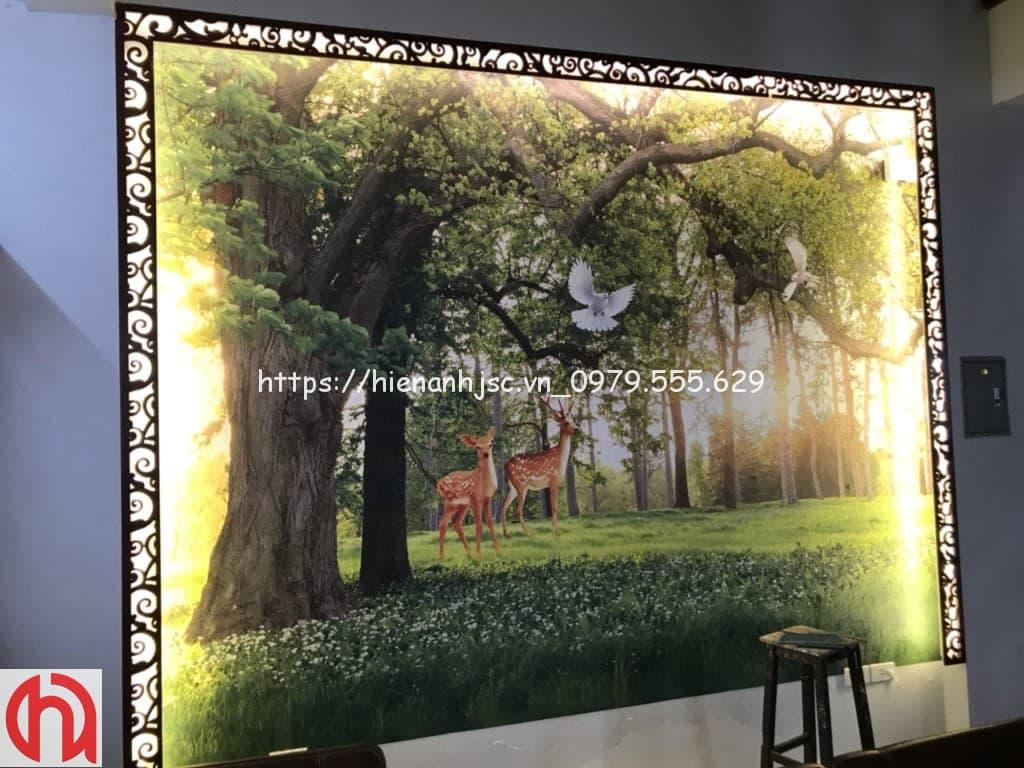 Công trình dán tranh nhà chị Thu tại Thái Bình