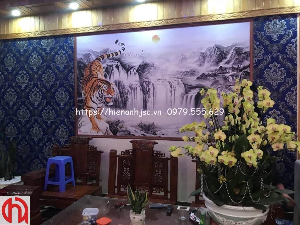 Mẫu tranh hổ 3D dán cho a Toán tại Bắc Ninh