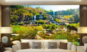 30 mẫu tranh dán tường phòng khách in 3D 5D 8D lụa đẹp nhất