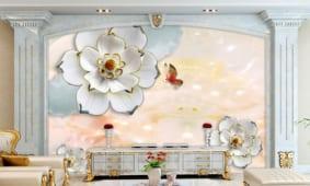 23 mẫu tranh dán tường 3D sau tivi phòng khách đẹp nhất