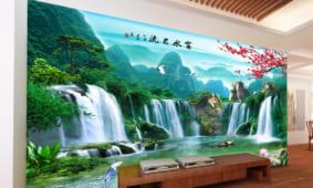 11 mẫu tranh sơn thủy dán tường ấn tượng nhất phòng khách